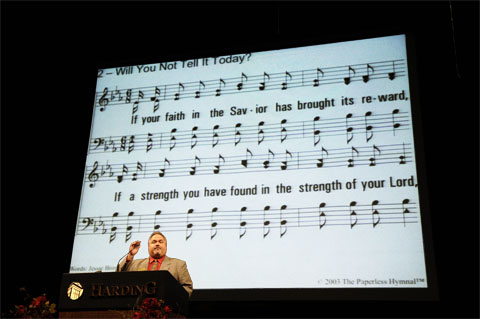The Paperless Hymnal® in use at the 2010 Harding University Lectureships - Dr. Michael B. Wood, directing